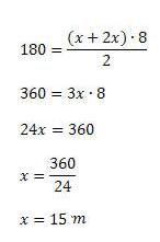 exemplo 2 area do trapézio com x