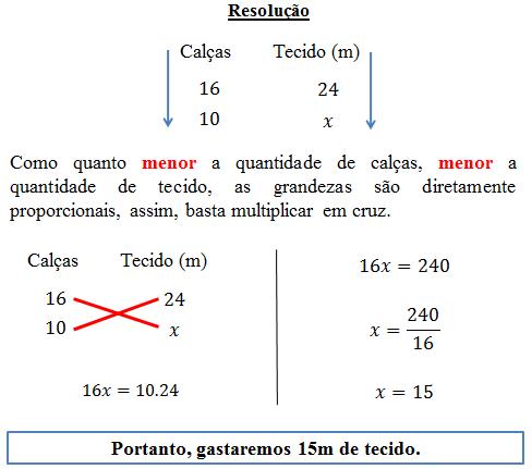 exemplo regra de tres