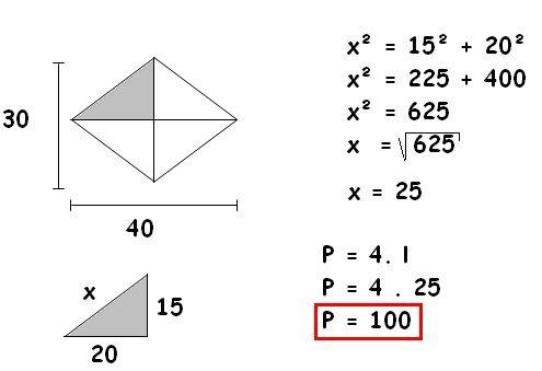 fórmula e resolução perimetro do losango