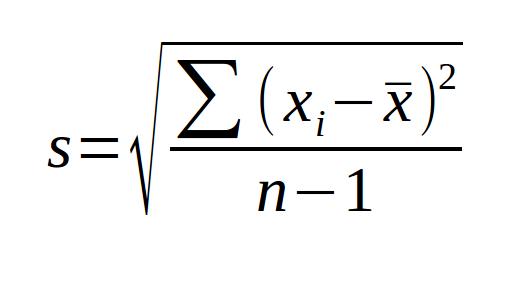formula desvio padrao